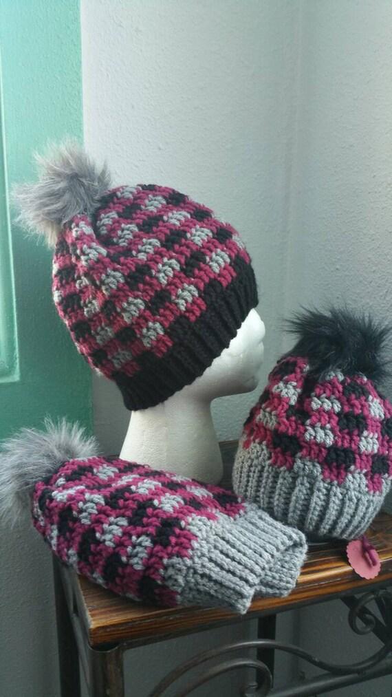 Plaid Hat Crochet Plaid Hats Faux Fur Pom Poms Plaid Beanie  443fb1d4d72