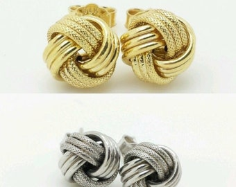 50799c7a7 10k Italian Yellow or White Gold Love Knot Stud Earrings,Italian Studs,gift  for her, birthday gift,Best Seller, 9mm Earrings,sale