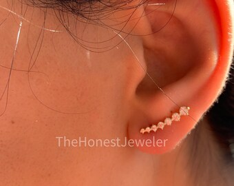 Star ear climber \u2022 Gold Ear Climber \u2022 Ear Jacket \u2022 Minimalist Ear Climber \u2022 Gold Ear Jacket \u2022 Gold Earrings \u2022 ear climber \u2022 For her \u2022