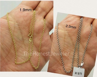 1.5mm 14k Gold Hollow Belcher Rolo Chain Necklace Extender and Safety Chain 3