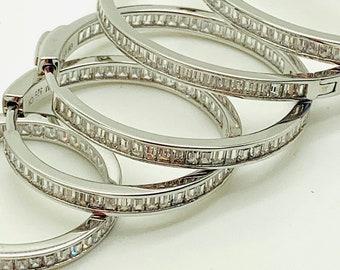 Big .925 Sterling Silver Round Circle Hoop Earrings 45mm 1.75