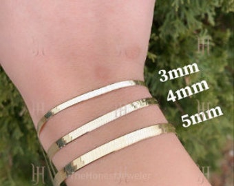 14k Solid Yellow Gold High Polish Herringbone Bracelet 3.0mm, 4.0mm, 4.7mm, 6.0mm, Imperial Herringbone, Flat Chain, Mothers day Gift Sale