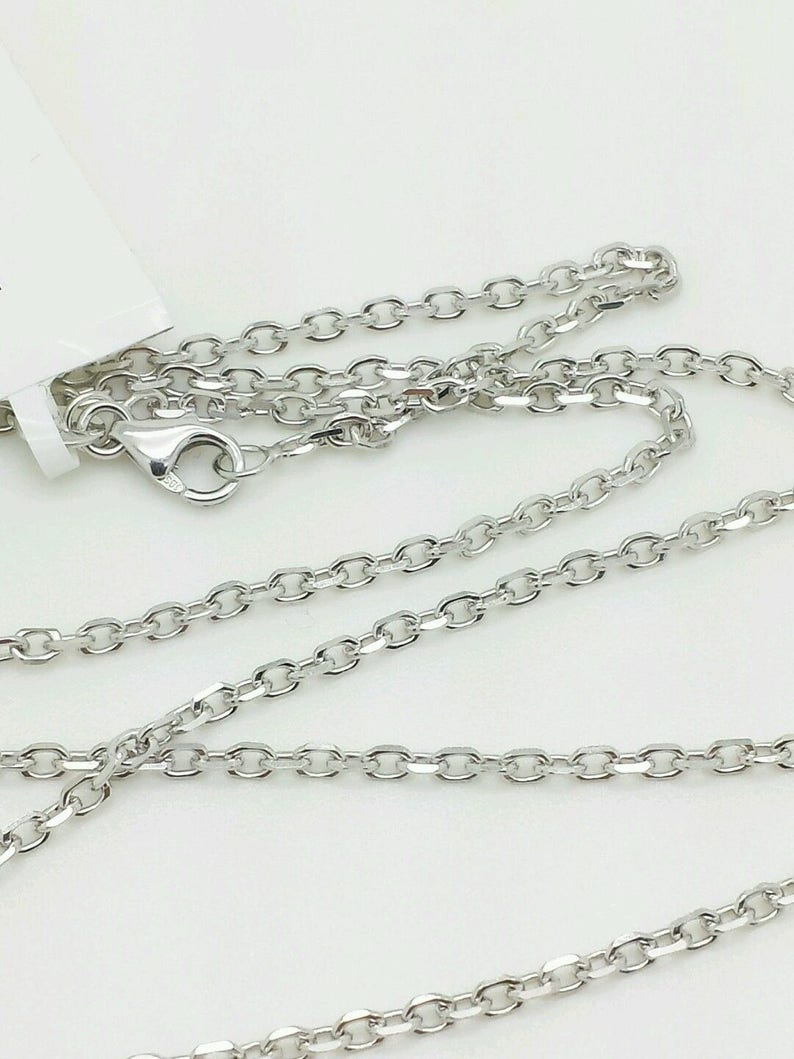 14k Solid White Gold High Polish Cable Link Pendant Necklace Chain 16-30 1.8mm Sale