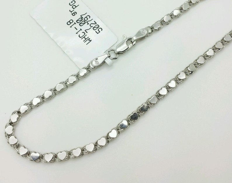 14k Solid White Gold Heart Link Bracelet Chain 7 2.9mm Women Mothers day Gift Sale