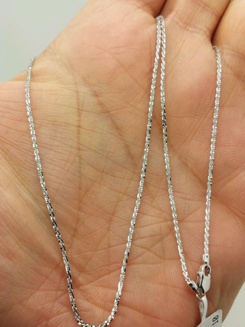 6235fe39ab91b 14k Solid White Gold Diamond Cut Sparkle Necklace Chain 16