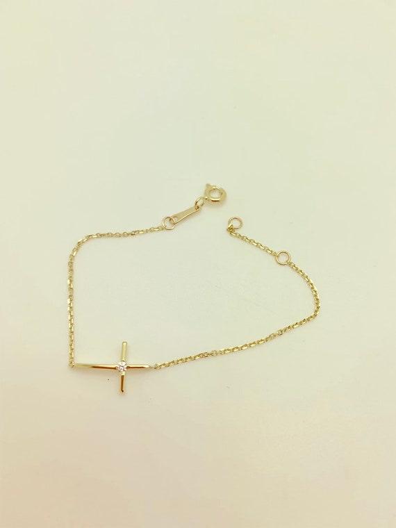 14k Solid Yellow Gold Baby Side Cross Bracelet,Religious Bracelet for Child,Christmas Gift,Baptism Gift,Children/'s Jewelry,Sale