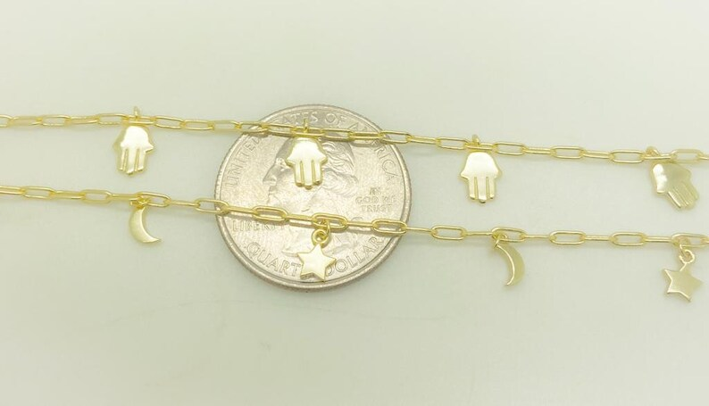 925 Solid Silver 14K Gold Plated Hamsa Bracelet Celestial Bracelet Moon Star Charm Bracelet Protection Bracelet Layering bracelet,Sale