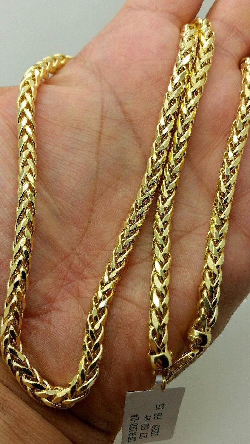 f084efc98fe8c 14k Yellow Gold Round Diamond Cut Franco Chain Necklace 24