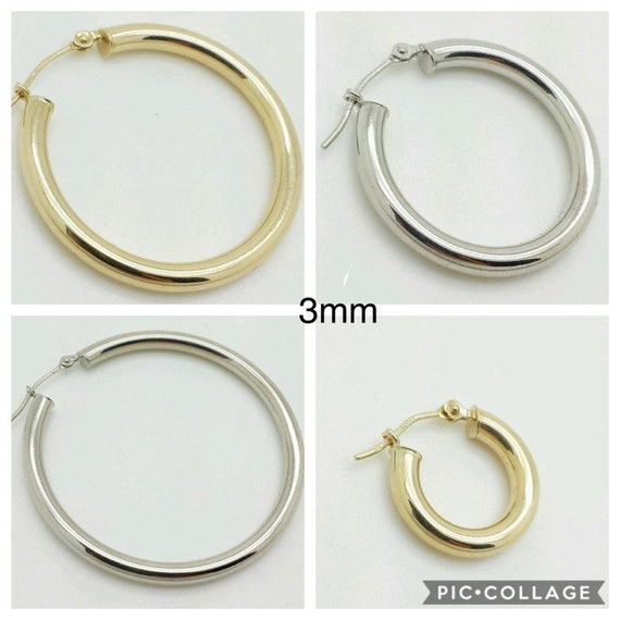 14k White Gold High Polish Tube Hoop Earrings 3mm x 30mm