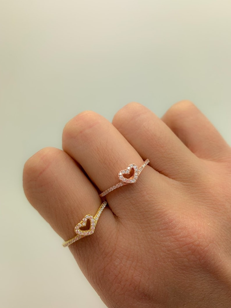 Thin Band Ring Gift for Girlfriend Everyday Ring,Bridesmaid Gift,Tiny Love Ring Dainty Ring 925 Solid Sterling Silver Mini Heart CZ Ring