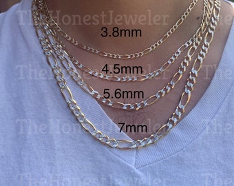 14k Solid Gold High Polish White Pave Figaro Chain, Two Tone Chain, Link Necklace, 3.8mm, 4.5mm, 5.6mm, 7.0mm, Perfect Gift// Sale
