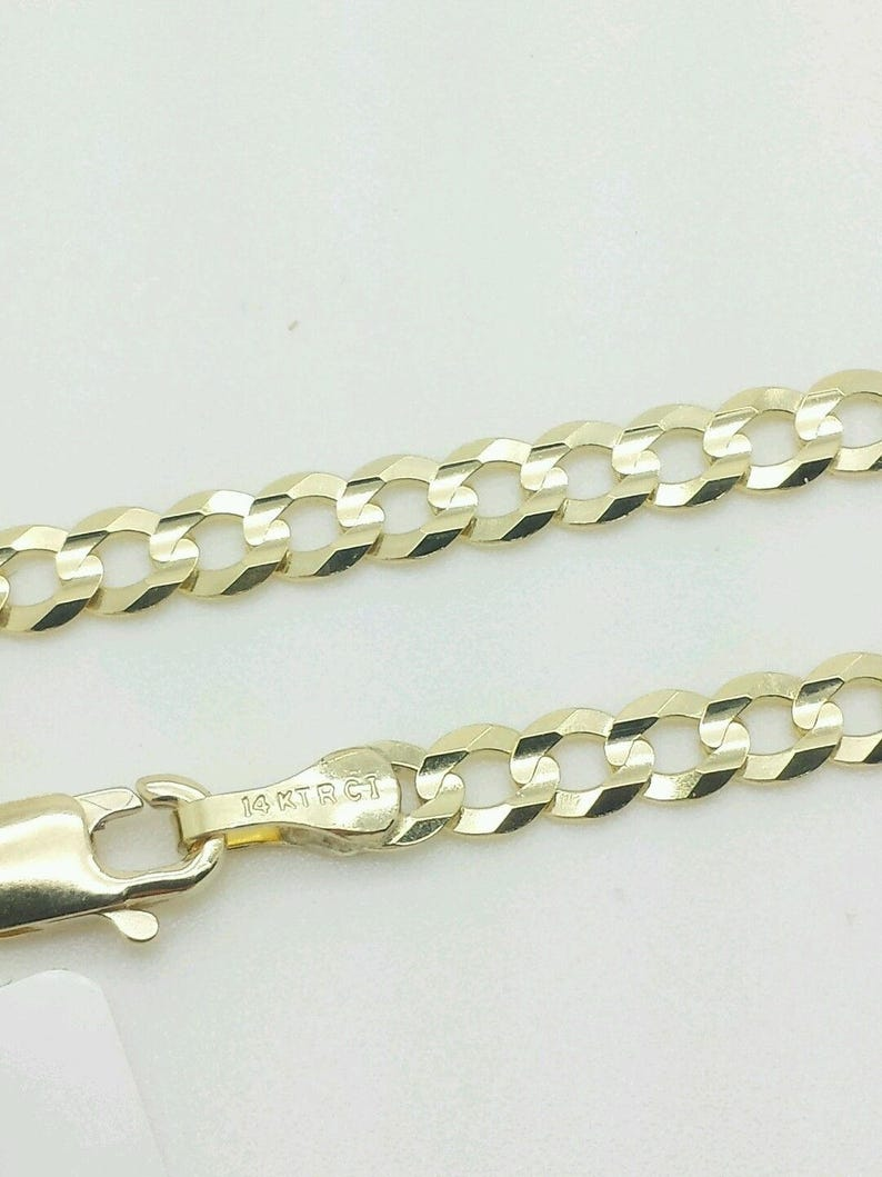 Cuban Link Chain For Sale >> 14k Solid Yellow Gold High Polish Cuban Curb Link Chain Etsy