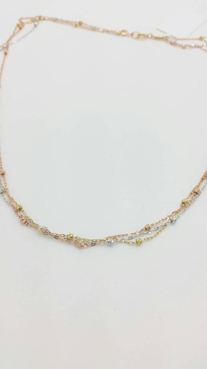 10k Solid Yellow Gold Tri Colored Triple Layered Beaded Necklace Multi Strand Neckalce,Gift for Her Sale Birthday Gift Layering Necklace