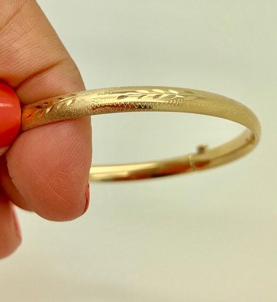"Baby Kids Textured Diamond Cut Bangle Bracelet Real Solid 10K Yellow Gold 5.5/"""