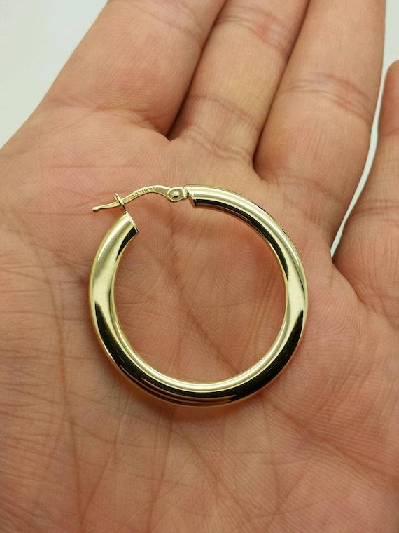 14k White Gold 4mm x 35mm Tube Hoop Earrings