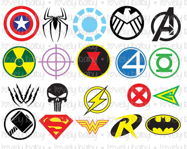 Avengers MARVEL Dc Super Heroes symbols Bundle, Set Of 20  MARVEL SVG, T  Shirt, dxf, eps, jpg, png, Cricut, Silhouette, Instant