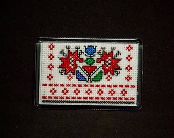 Handmade Embroidered Ornament Rectangle Magnet (2 options)