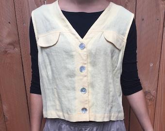 TOO CUTE Carol Anderson Petites Soft Yellow Linen Vest!