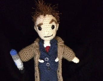 Made to Order 10th Doctor Who Crocheted Amigurumi-David Tennant w/Free gift