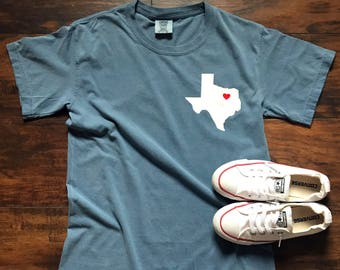 Comfort Colors // Short Sleeve // Heart of Texas Tee // Vinyl Design //  State Tee