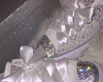 f11e589222d2 Bridal Pearl Rhinestone Converse Custom Wedding Rhinestone Shoes Swarovski  Crystal Studded Shoes Bridal Party Prom Shoes