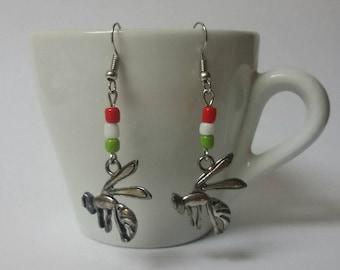Vespa - Earrings - FREE SHIPPING Tibetan Silver with Earrings back caps Wasp pendant-symbol of vespa
