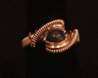 Sterling Silver Wire Wrapped Lapis Lazuli Ring- Size 5
