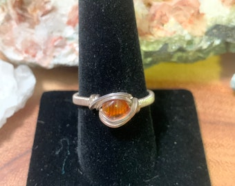 Ships Fast! Blue Apatite /& Baltic Amber Sterling Silver Wire Wrapped Gemstone BEAD Ring Made to Order