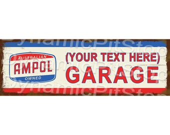 60x20cm Ampol Sound Horn Service Rustic Tin Sign or Decal