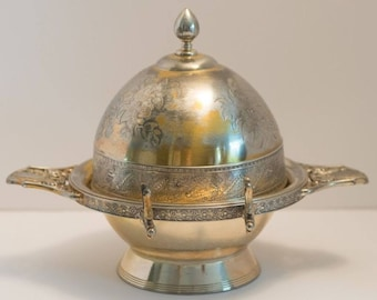 934c65d621bfc Meriden Brittania Silverplate Co Butter Bell Dome Dish Cooler Early 1900s   4984