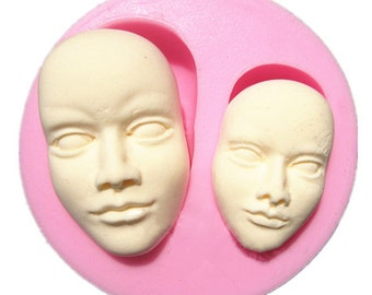 Human Face Silicone Fondant Mold Chocolate Polymer Clay Mould BG965881