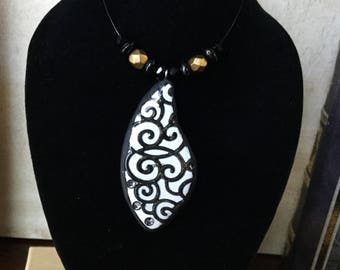 Black and White Swirl Polymer Clay Pendant, Black and White Pendant, Pendant, Unique Necklace, Pendant with Crystals