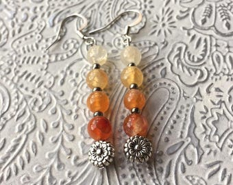 Citrine Flower Earrings