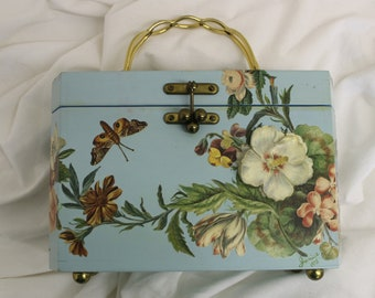 Vintage Wood Box Purse Janice 1975 Decoupage