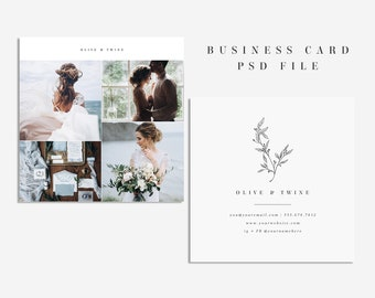 square photography business card template photoshop business card instant download business card photography stationary template psd