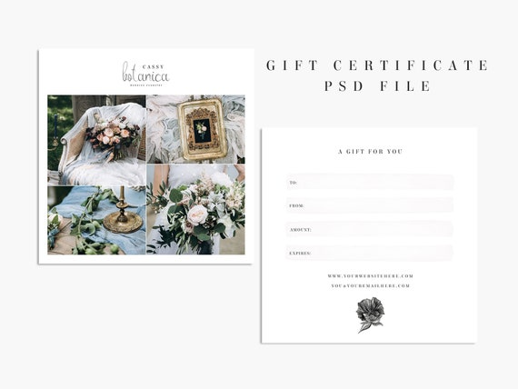 Photography Gift Certificate Template Photoshop Gift Etsy