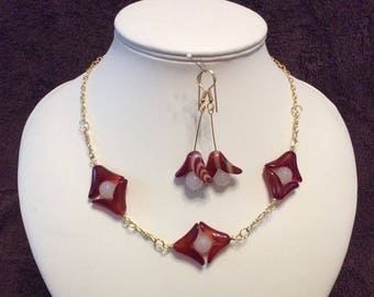 Carnelian Necklace and Earrings