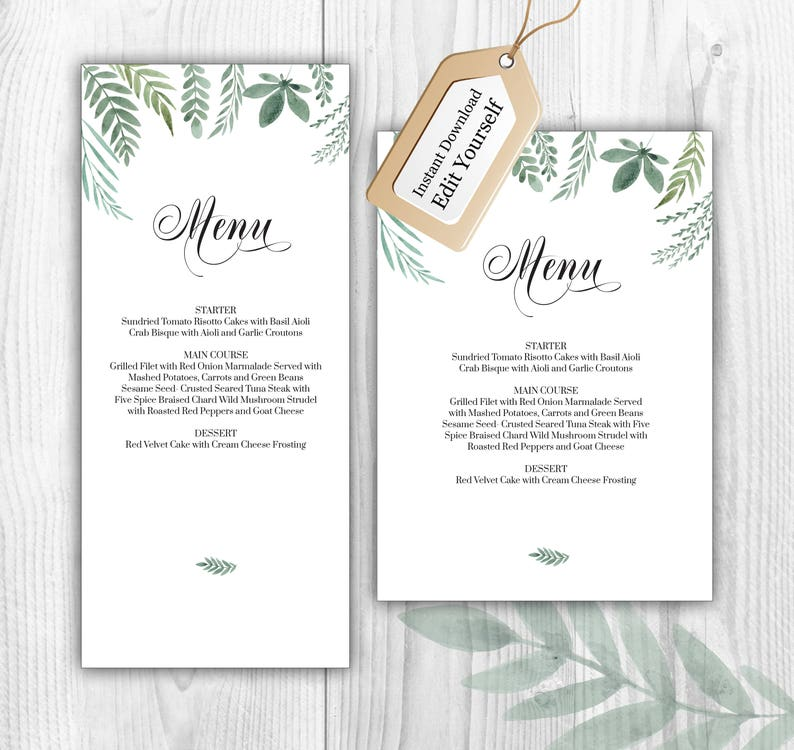 Eucalyptus Menu Template, Editable Menu, Download and Edit Menu, Greenish  Party Menu, Eucalyptus Decor, Two Sizes, 4x9, 5x7, #E1