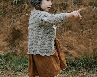 Knitted Baby Grey Sweater Hat Booties Set