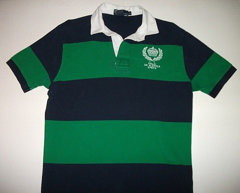 f7d129fb9 Vintage 90s Polo Ralph Lauren PRLC 381 Bleeker 7 Polo Shirt