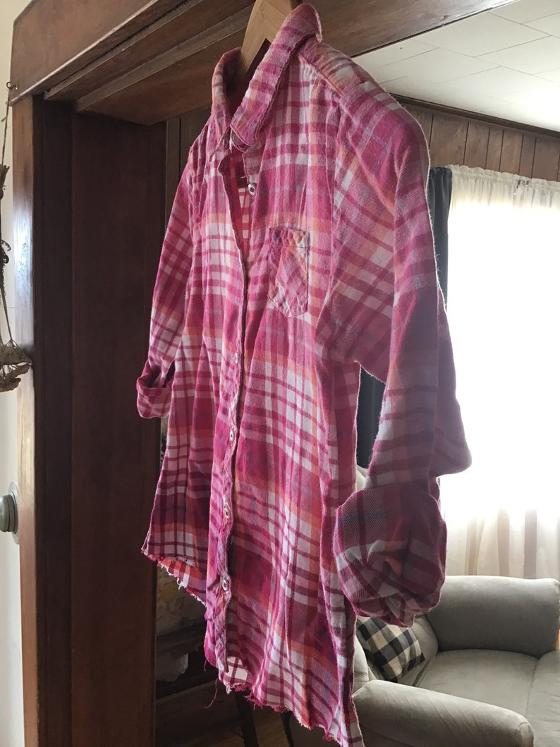 youth Re-purposed Tye Dyed Hand dipped flannel button down shirt Child