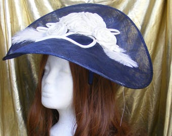 Navy and white sinamay hat