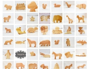 Six animals of choice, animals set, wooden animals set, waldorf toy, handmade wooden animals, birthday gift, ce tested toy, kids toy