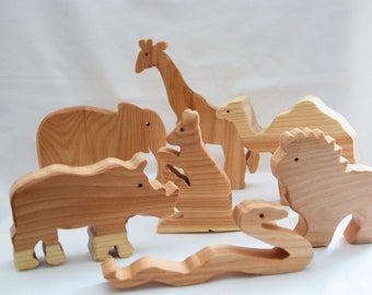 Egzotic animals - wooden animals set - wooden animals toy - wooden toy - waldorf toy - handmade wooden toy- birthday present - ce tested toy