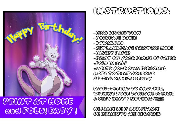 Mewtwo Birthday Card Pokemon Birthday Card Digital Etsy
