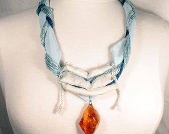Necklace Baltic amber and blue silk
