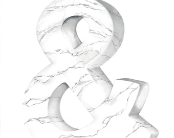 Marble Ampersand Drawing- Limited Edition Print