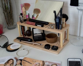 Makeup wood organizer, MIRROR as a GIFT, Wooden cosmetic holder, Сosmetics organizer, makeup holder, beauty station, cosmetic stand