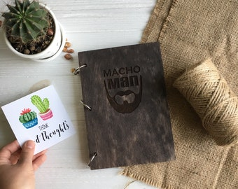 Macho Man Wood Notebook any engraving, Craft paper Wood Cover Notepad, Wooden Sketchbook, Birthday Gift, Personalized book Custom Planner