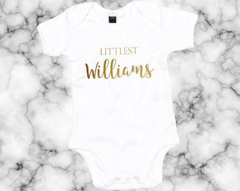 eb74760b2 Gold Unisex Baby Shower Gift Littlest CUSTOM NAME Babygrow Baby Vest Romper  Surname Babyshower present Gender Reveal AS30